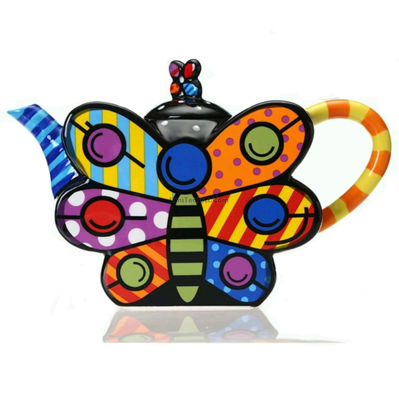 Drawn teapot porcelain Shaped Butterfly Colored Butterfly Porcelain