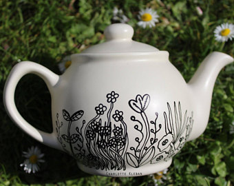 Drawn teapot porcelain Small drawn with small Hand