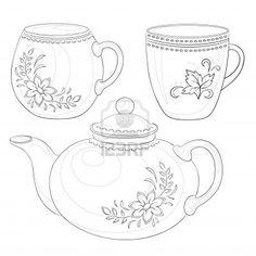 Drawn teacup teapot #6