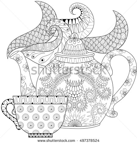 Drawn teapot zentangle With cups Zentangle for with