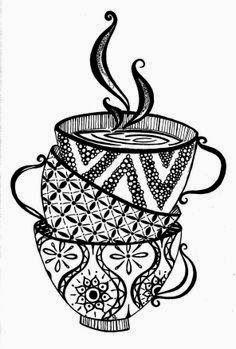 Drawn teapot zentangle Voor September Tea  Zentangle
