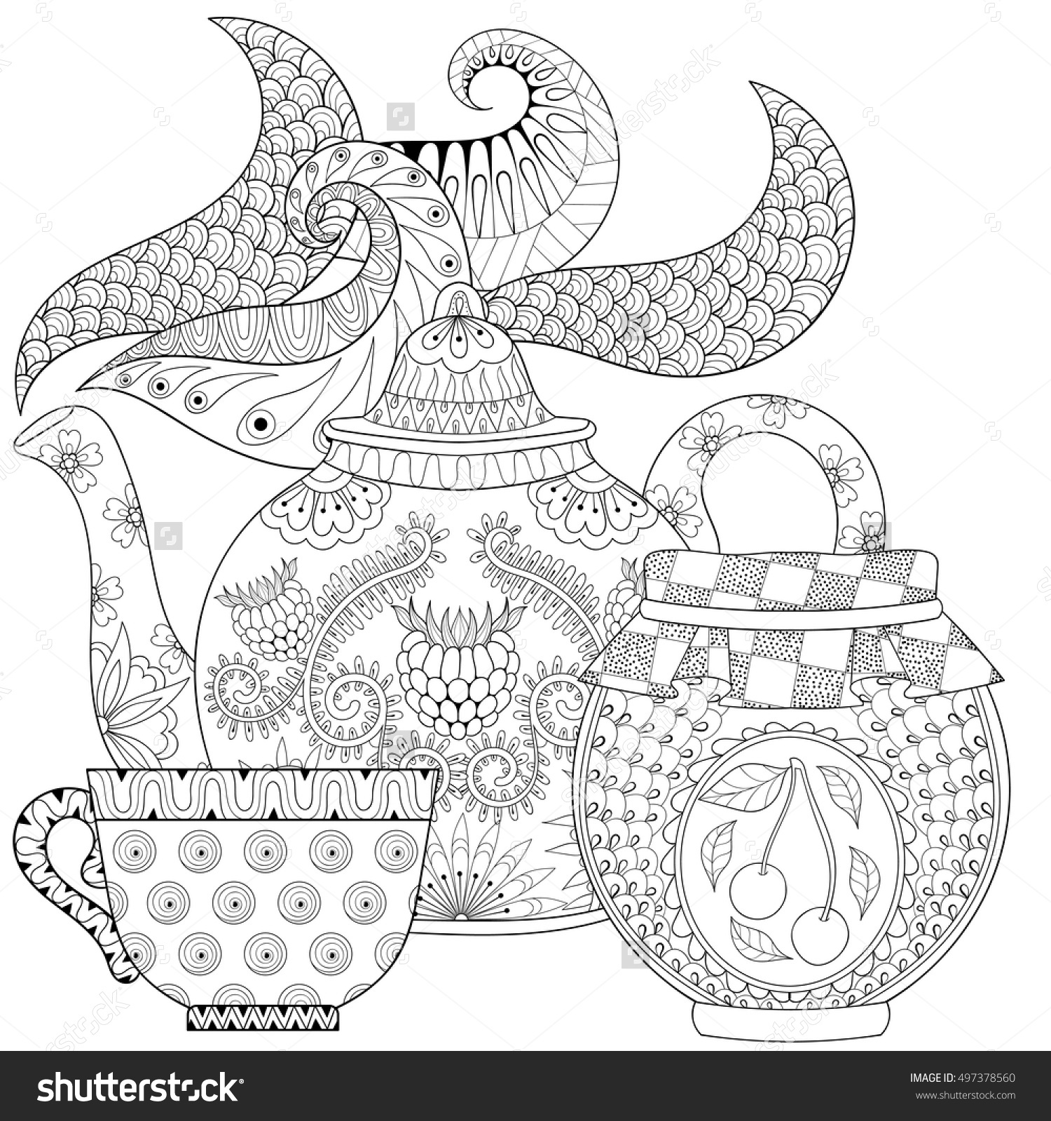 Drawn teapot zentangle Cup Adult Pages Coloring Shutterstock