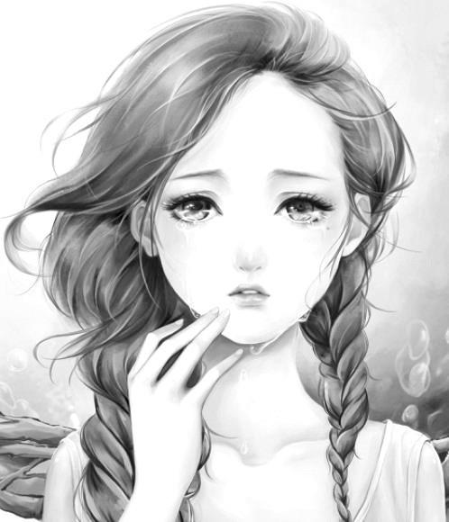 Drawn tears abstract White black tears girl anime