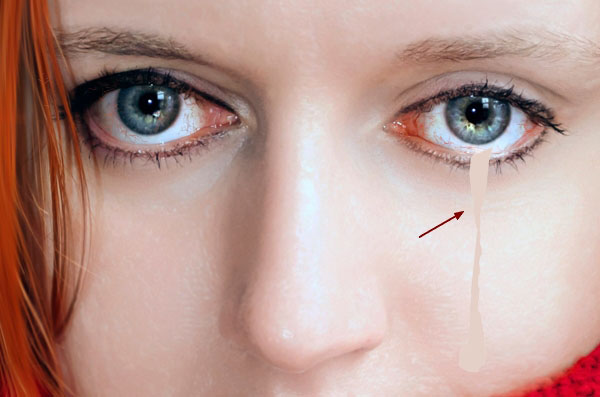 Drawn tears tear step by step Photoshop Photoshop to How a