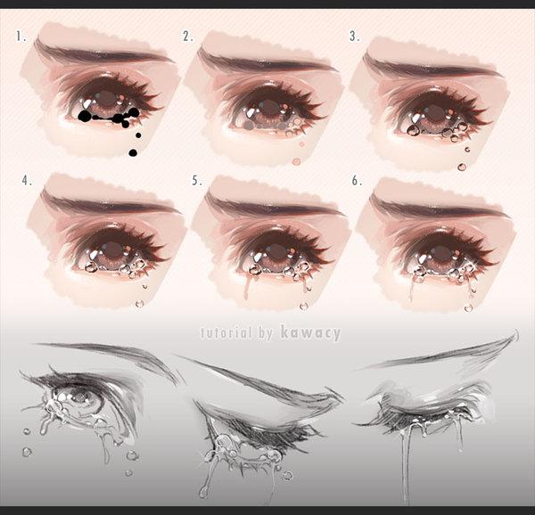 Drawn tears tear step by step Kawacy by Tears Drawing Drawing