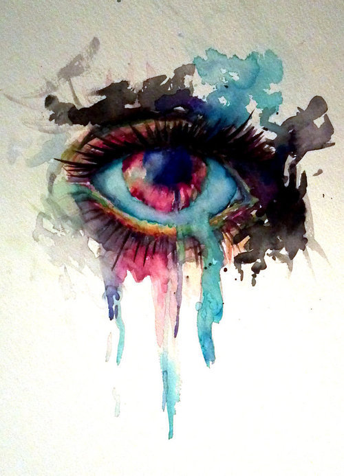 Drawn tears water dripping YOUR Eye INK: painting eye