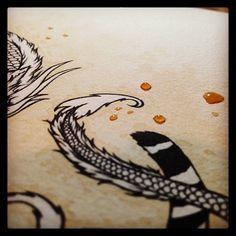 Drawn tears work Pencil drawing Coffee whole Jewels
