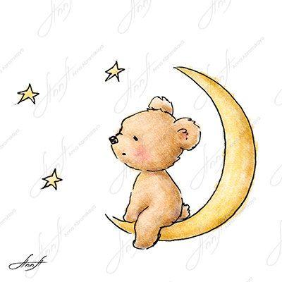 Drawn teddy bear The on moon Teddy The
