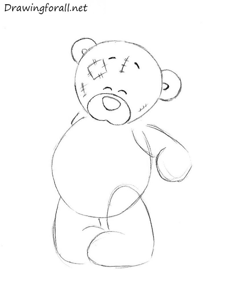 Drawn teddy bear A a How how Draw