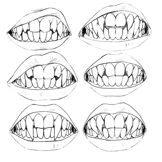 Drawn teeth different Teeth faces Pinterest Werewolf ideas