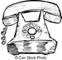 Drawn telephone old telephone Sketch vector illustration  free