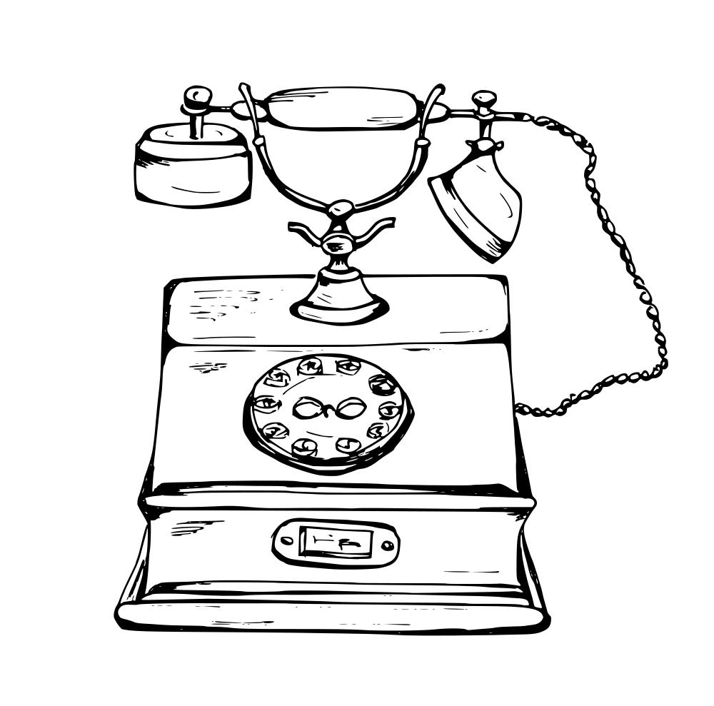Drawn telephone Drawn (SVG OnlyGFX PNG) Phone