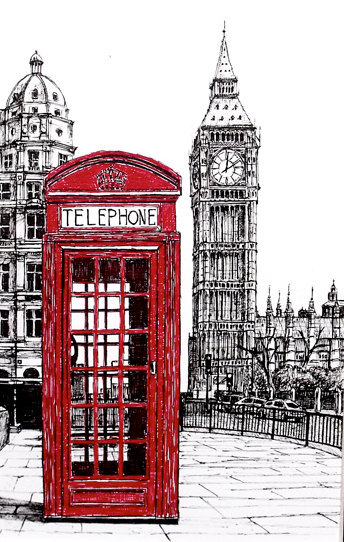 Drawn big ben telephone booth Decoupage print london london Pinterest