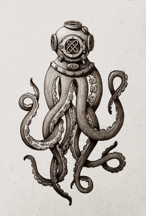 Drawn squid diver helmet Multiliner on Like Octopus Design?