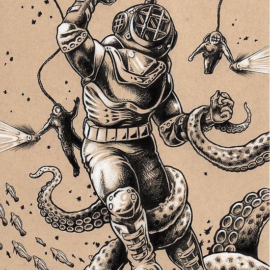 Drawn squid diver helmet  My Dive Helmet Divers