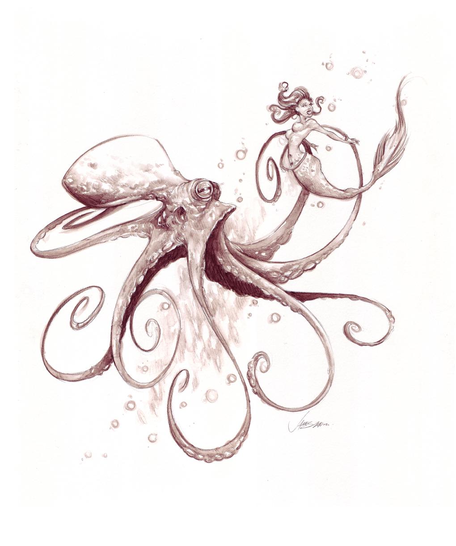 Drawn octopus mermaid On on  octopus the