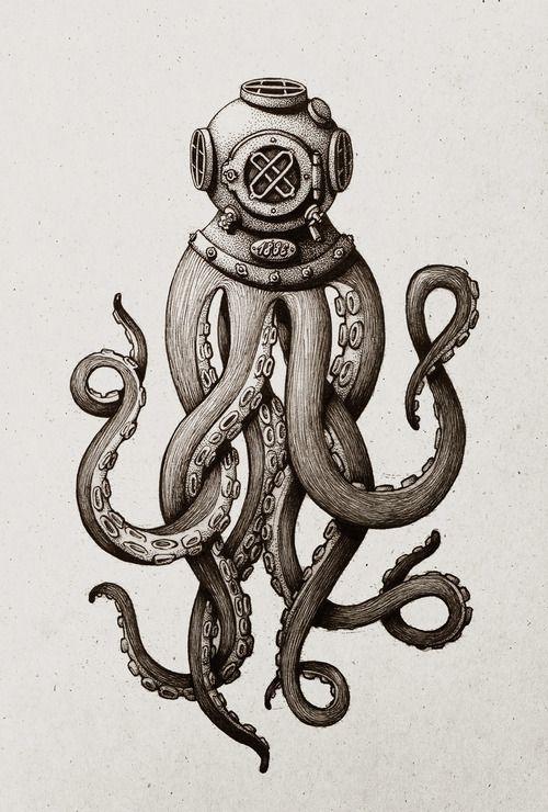 Drawn squid vintage Did diver of diver pen