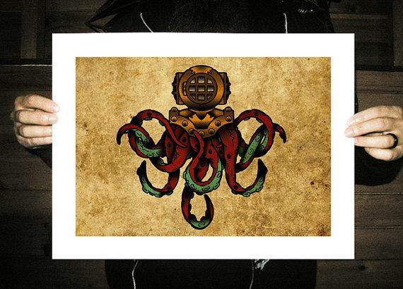 Drawn tentacle old school Scuba #tattoo Neo Mask Neo
