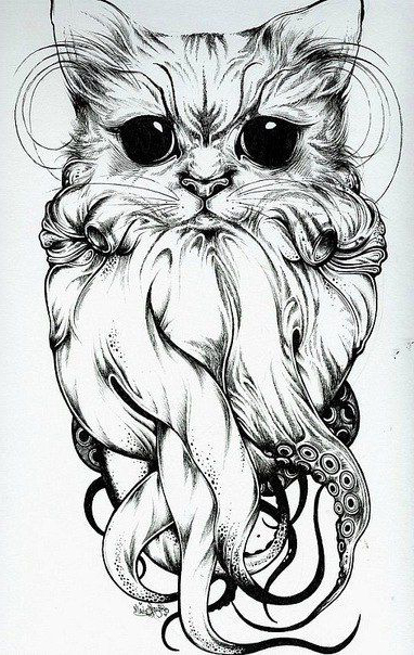Drawn tentacle old school Tentacles OctoCat tattoo sketch