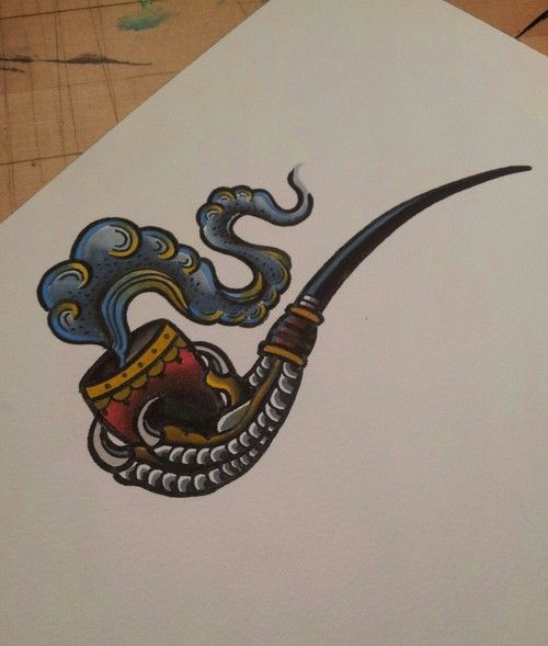 Drawn tentacle old school Tattoo that (and pipe on