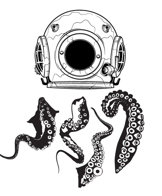 Drawn tentacle old school Painting undersea using Vector
