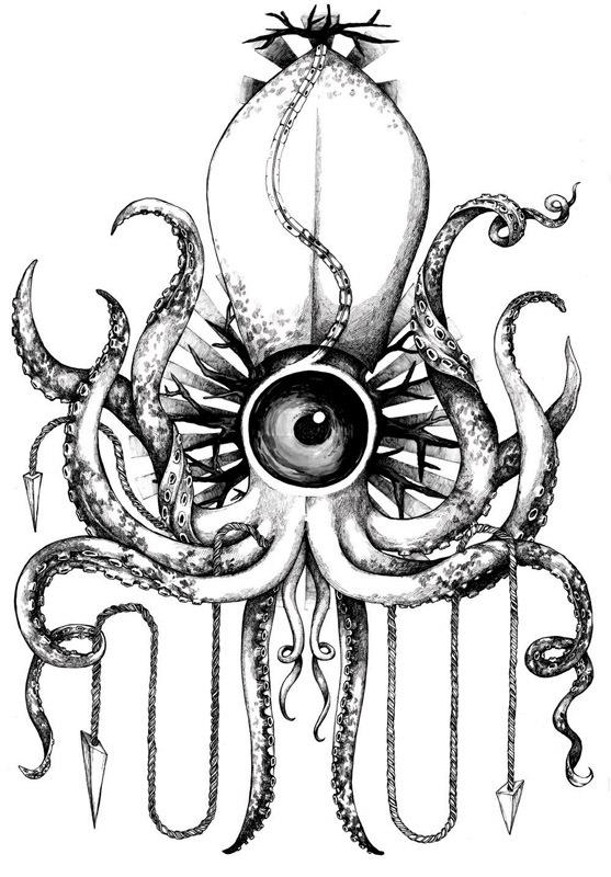 Drawn squid octopus Space Olenska Squid Zosia Olenska