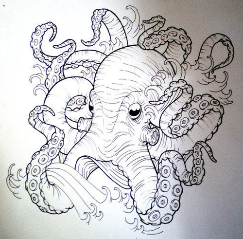 Drawn tentacle traditional Google ship kraken tattoo Search