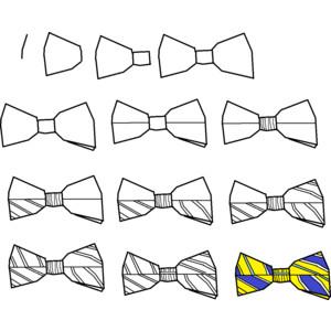 Drawn tie bow tie Step Striped Step tie Free