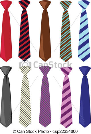 Drawn tie Colored set illustration ties Clipart