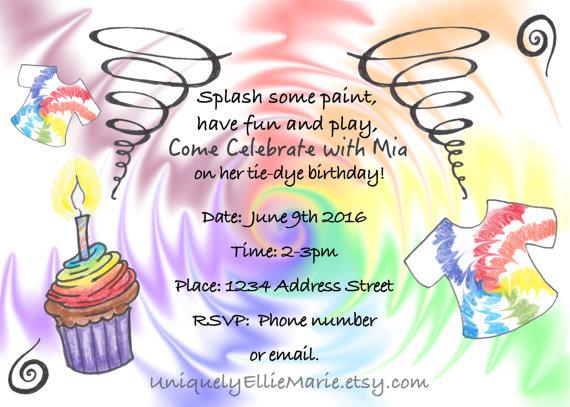 Drawn tie printable Invite Birthday Tie Dye Printable