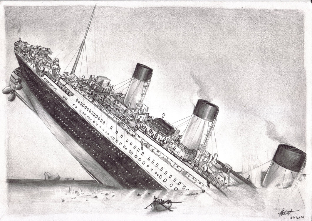 Drawn titanic simple Titanic Drawing Realistic Titanic Pencil