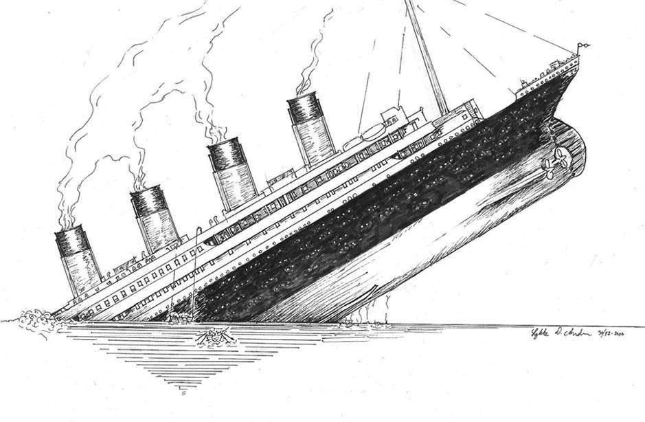 Drawn titanic Titanic Titanic &  sinks