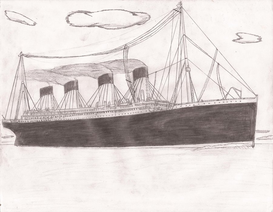 Drawn titanic Pencil Realistic Titanic Drawing Art