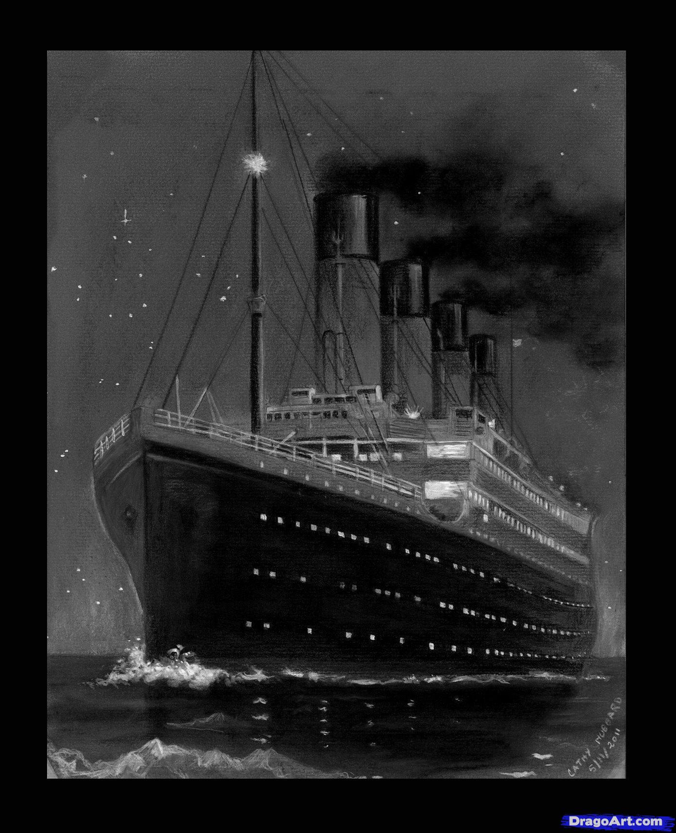 Drawn titanic black and white Titanic 7 Step Titanic to