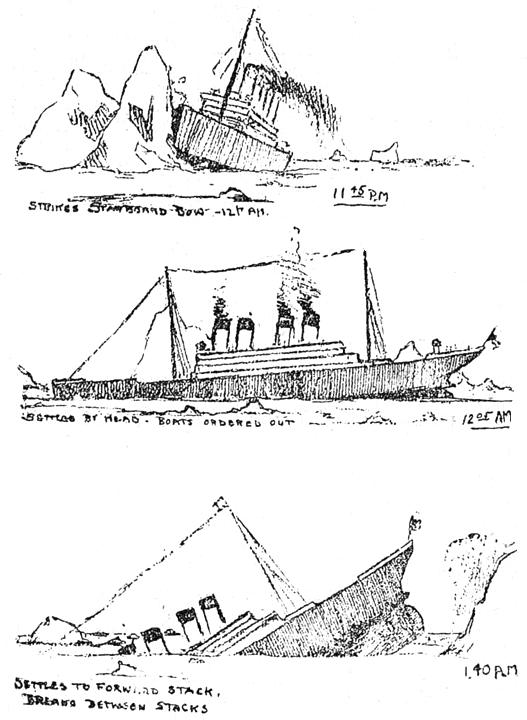Drawn titanic front (1912) the Titanic Sketches sinking