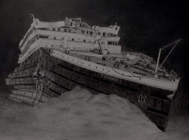 Drawn titanic front Titanic Titanic wreck wreck Titanic