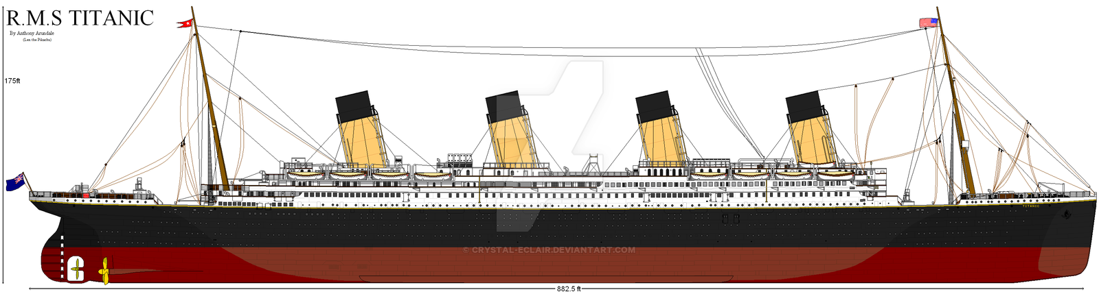 Drawn titanic side view :2010: RMS by TITANIC Eclair