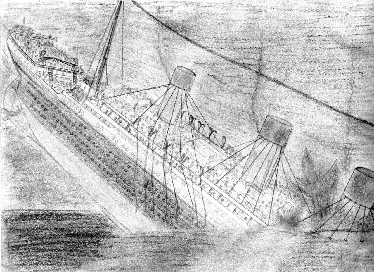 Drawn titanic titanic sinking Sinking : source Titanic Drawing