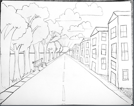Drawn road black and white Point Steps One edit2 Perspective