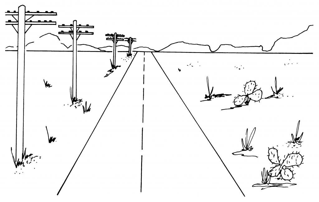 Drawn railroad linear perspective (Part All Drawing Drawing 1)