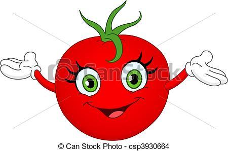 Drawn tomato cute cartoon Raising Cheerful tomato csp3930664 Tomato