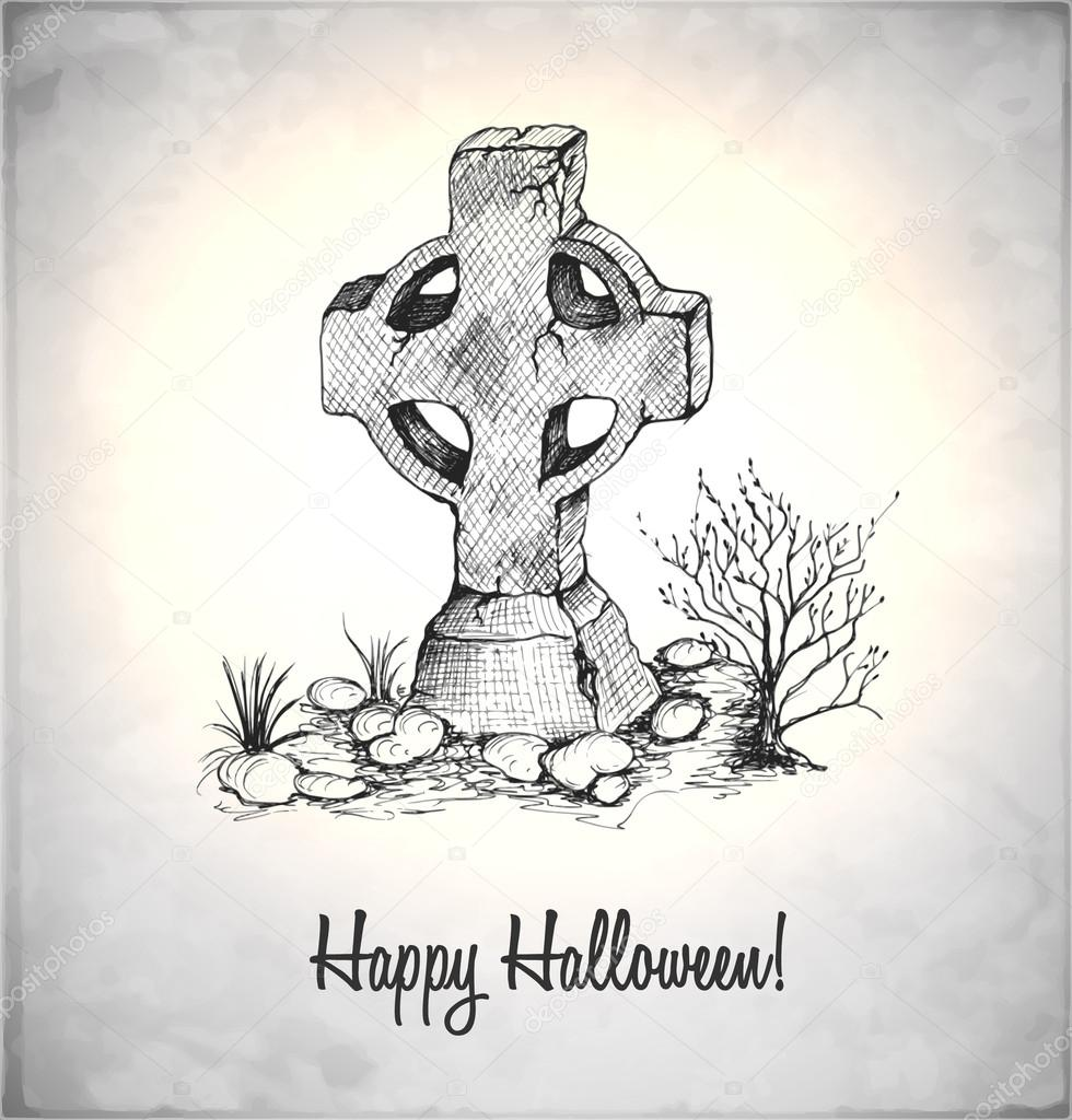Drawn tombstone night A Vector style illustration drawn