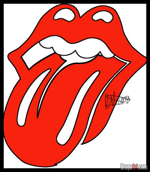 Drawn tongue  rolling Stones Step The