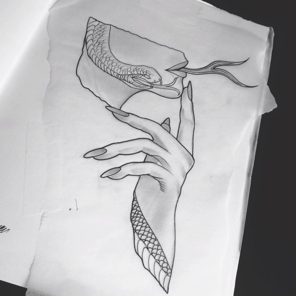 Drawn snake hand drawn And grey Tattoo traditional and