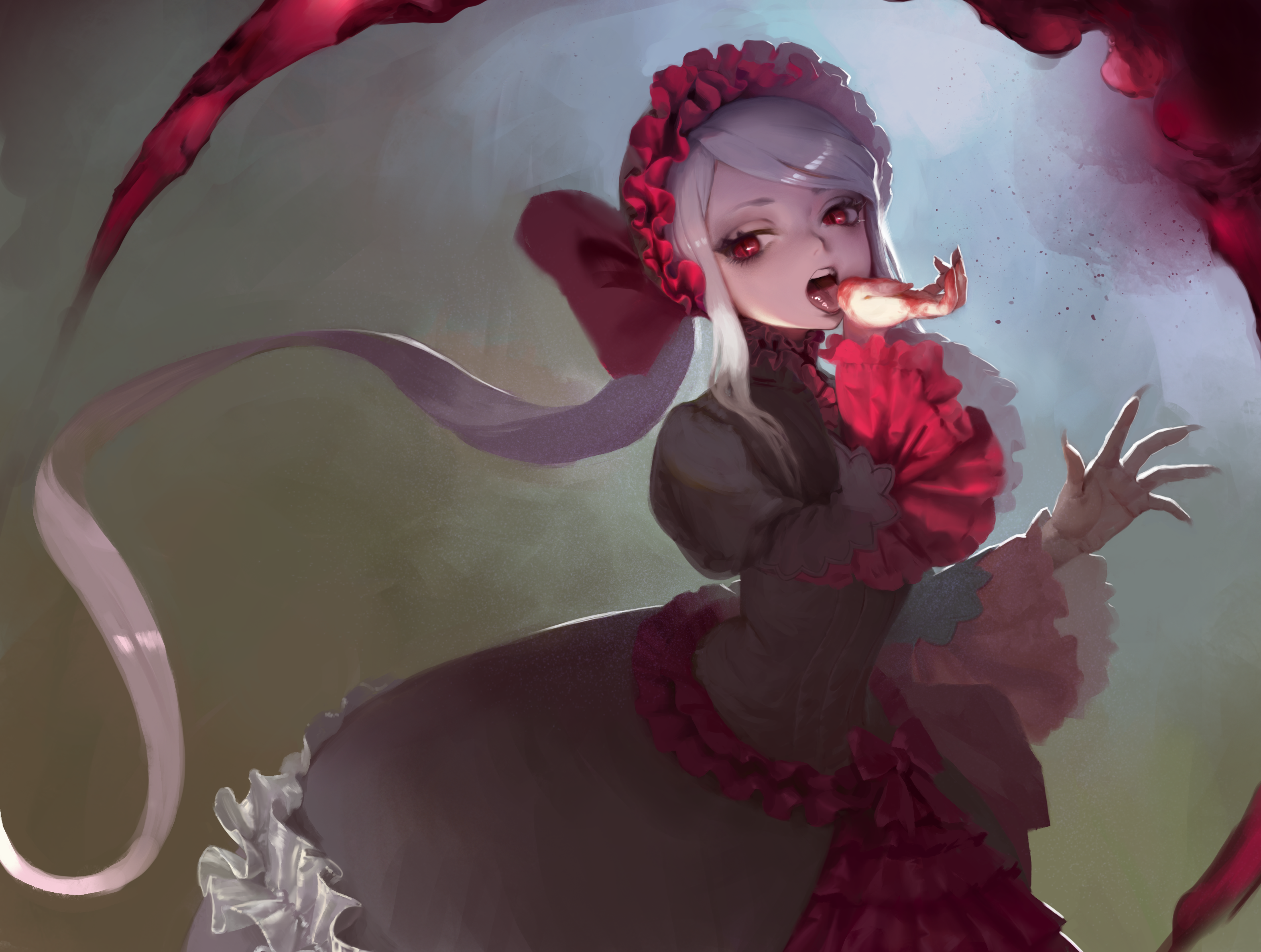 Drawn tongue wallpaper Shalltear by Information (overlord (maruyama))