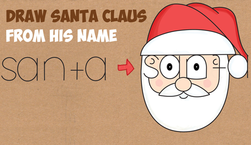 Drawn santa cute holiday Clause Word to to Cartoon