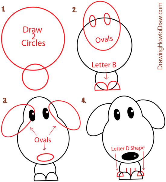 Drawn puppy simple Cartoon Shapes Big  Guide