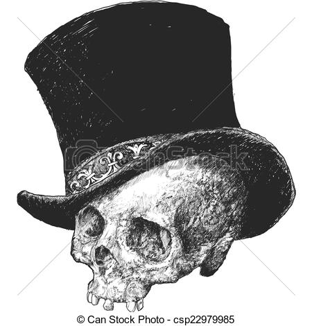 Drawn top hat Skull Illustration Illustration and drawn