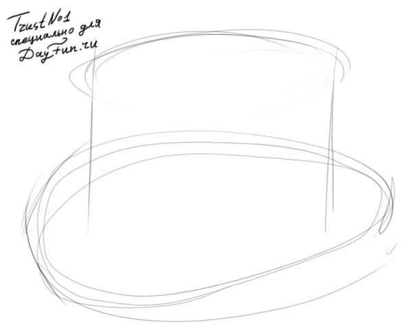 Drawn top hat line drawing Step COM ARCMEL how 2