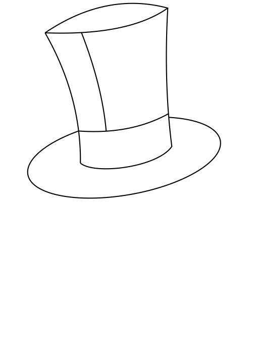 Drawn top hat line drawing Some Step How to a